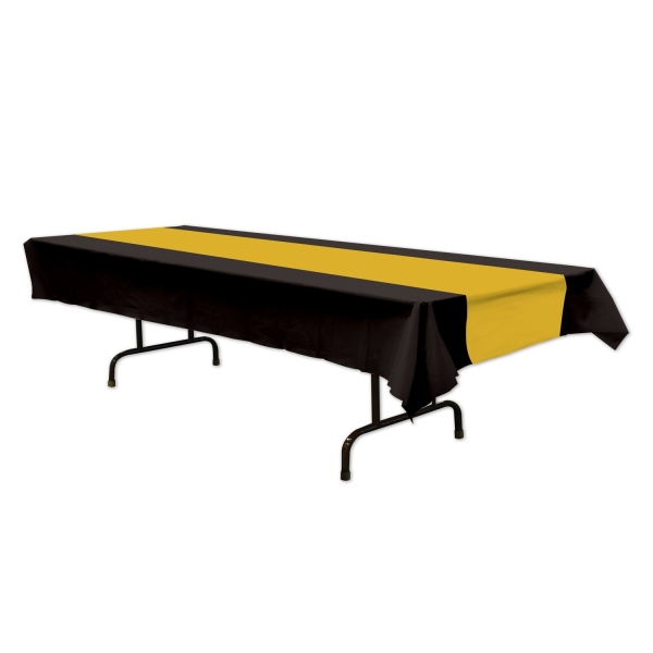Party-Extra Plastik-Tischdecke schwarz/gold