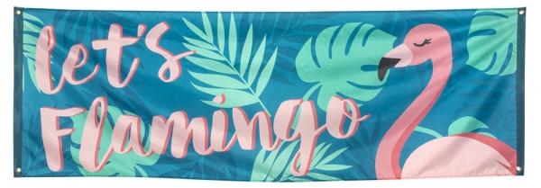 Mega-Partybanner Let's Flamingo - Pink Flamingodeko