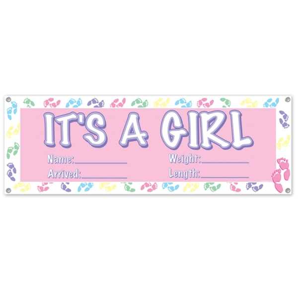 Partybanner It's a Girl, beschriftbar - Babyparty Deko