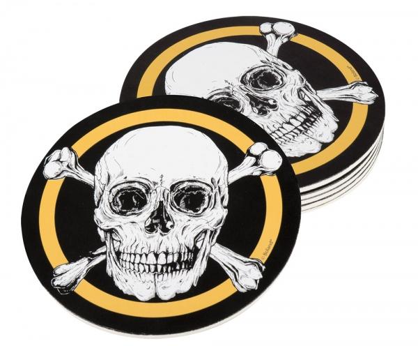 Piraten-Untersetzer Totenkopf - Piratenparty Tischdeko