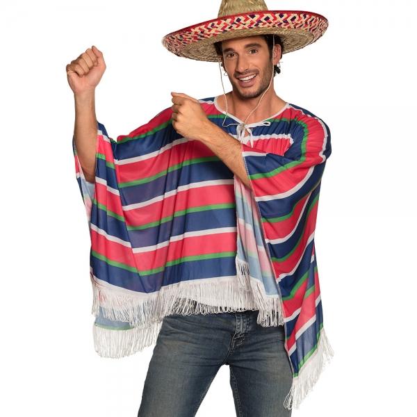Mexikanischer Herren Poncho in blau weiss grün rot vorne