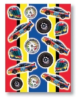 Stickerbogen Autorennen, 4 Bögen