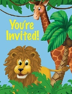 Einladungskarten Dschungel, 8 Stück mit Umschlägen