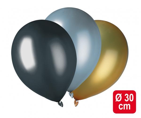Luftballons schwarz-gold-silber metallic - Silvester Party Deko