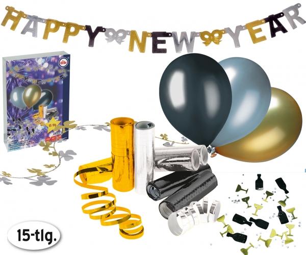 Silvesterparty Deko-Set, schwarz-gold-silber - Silvesterdeko-Basisausstattung