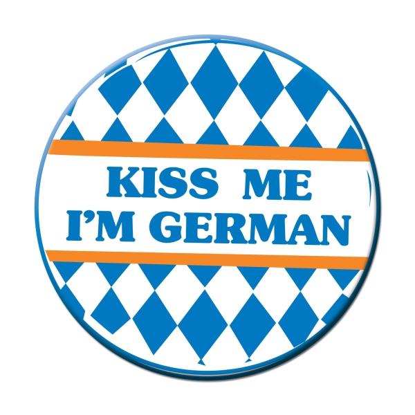 Ansteck-Button Kiss Me I'm German - Oktoberfest Deko