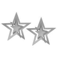 Folienstern-Hängedeko, silber, 2er Pack
