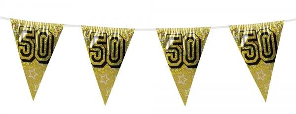 Wimpelkette Goldene Hochzeit, 8 Meter