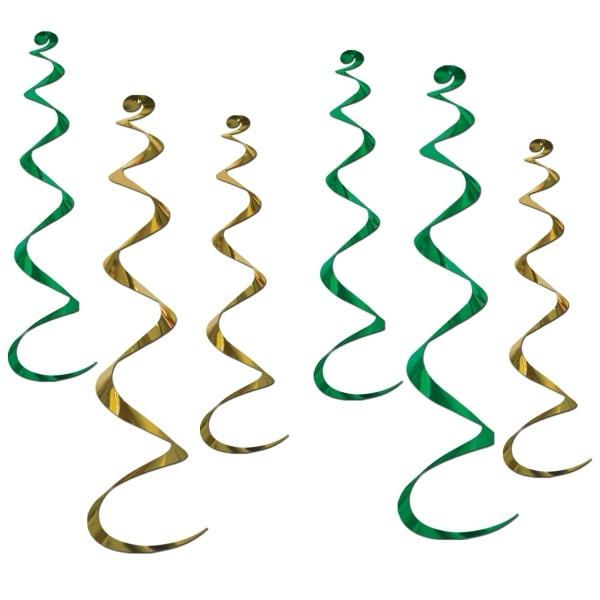 Party-Extra Deko-Spiralhänger grün-gold, 6er Pack
