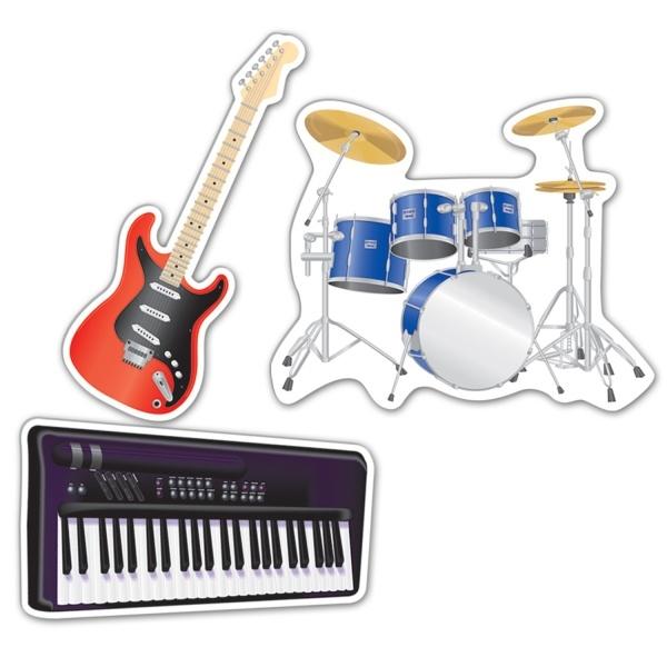 Party-Extra Cutout Set Rockstar Instrumente - Musik Deko