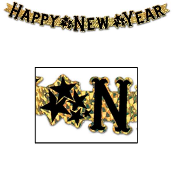 Metallic-Buchstabenbanner Happy New Year, gold - Silvesterdeko