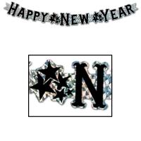 Metallic-Buchstabenbanner Happy New Year, schwarz-silber