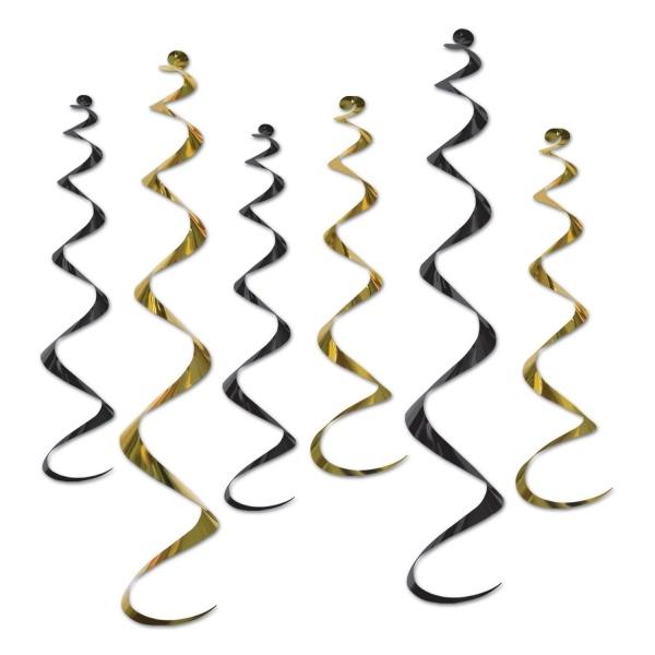 Party-Extra Deko-Spiralhänger gold-schwarz