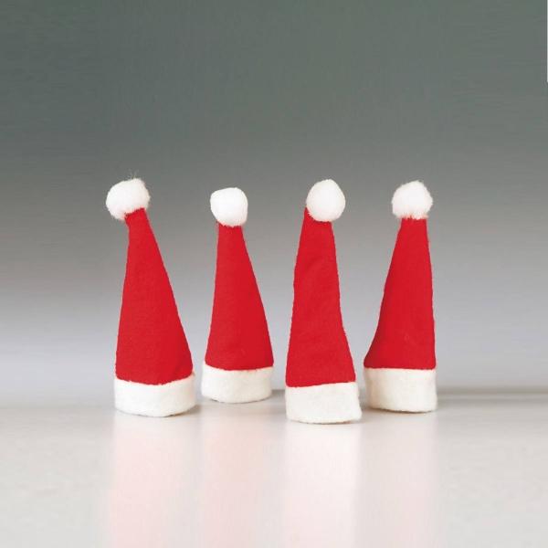 4er Set Mini-Weihnachtsmannmützen, 10cm groß