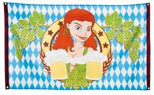 Deko-Fahne Bayerische Bierparty - Oktoberfestdeko