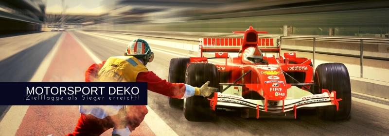 Motorsport Deko - Start Ziel Sieg an der Zielflagge vorbei