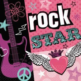 Servietten Rockstar-Girl