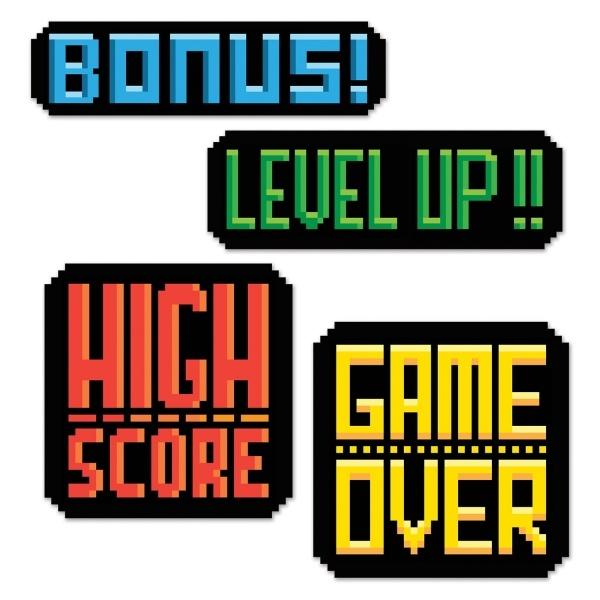 Party-Extra Cutout Set 80er Jahre Videospiel, 4-teiligt