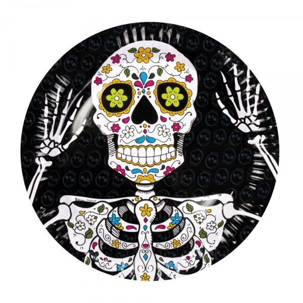 Pappteller Sugar Skull Mexikoparty - Dia de los Muertos Deko