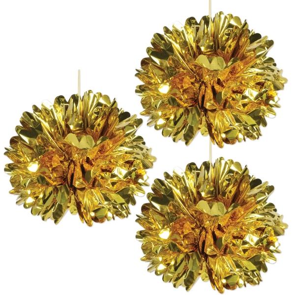 Deko Pom-Pomms aus Gold-Metallicfolie - Silvesterparty Deko