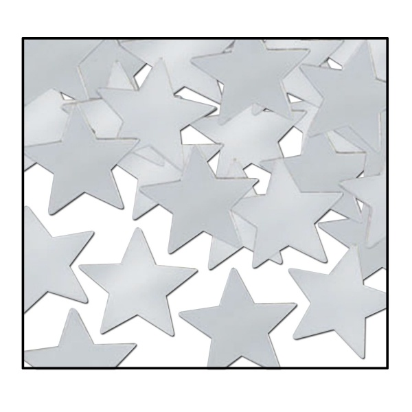Tischkonfetti Silberne Sterne - Tischdeko in Metall-Optik