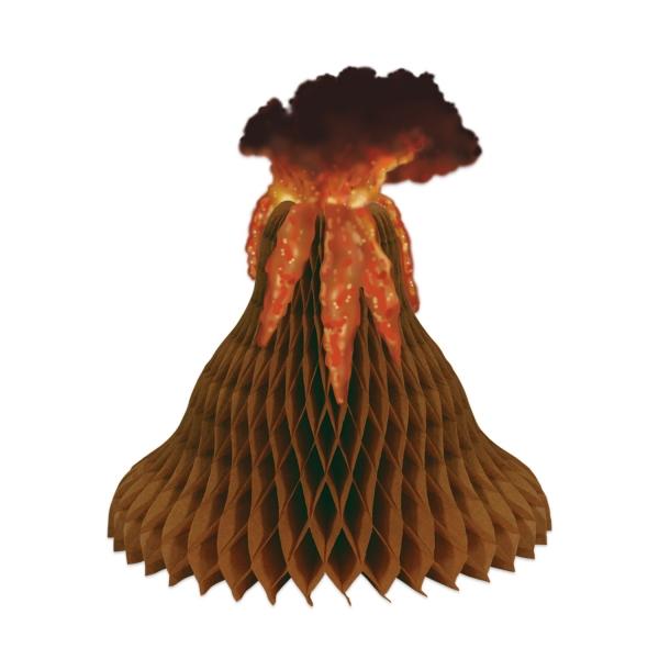 Tischdeko Vulkan aus Wabenpapier - Vulkanausbruch zu Tisch