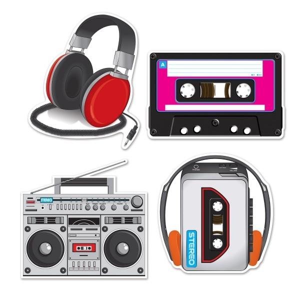Party-Extra Cutout Set Kassettenrecorder, 80er Jahre High-Tech