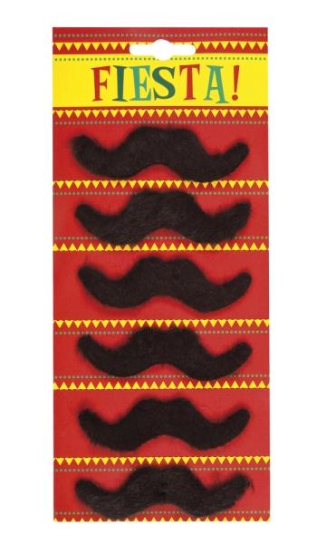 Schnurrbärte, selbstklebend, 6er Pack