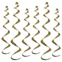 Deko-Spiralhänger gold, 6er Pack,