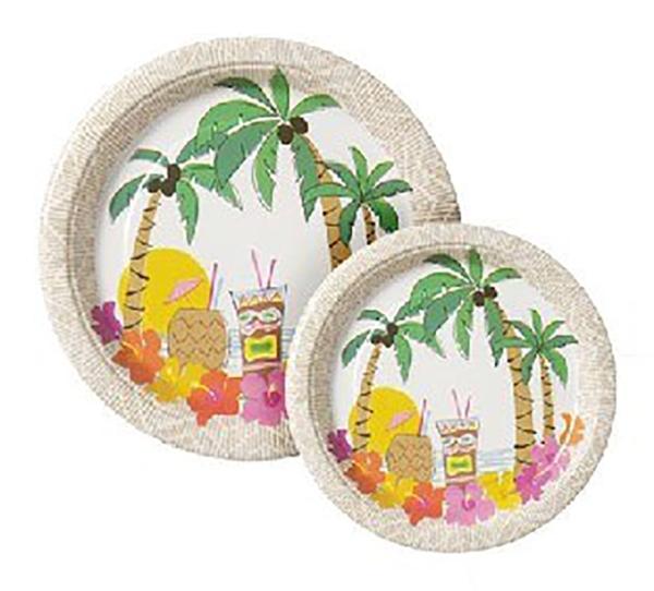 Pappteller Hawaiiparty, 20er Pack - Beachparty Deko