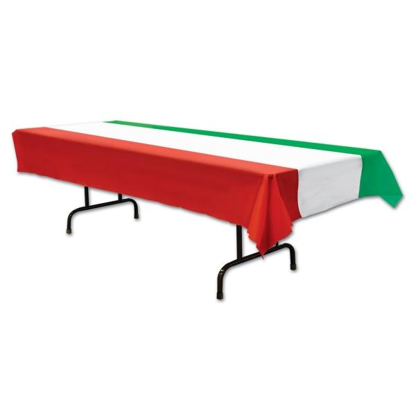 Party-Extra Plastik-Tischdecke rot-weiß-grün
