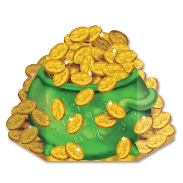 Party-Extra Riesen Pappaufsteller Topf Voll Gold - Irland Deko