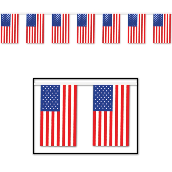 XXL-Plastik-Flaggenkette USA, 18 m - Amerika Deko