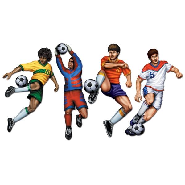 Party-Extra Cutout Set Fußballspieler, 4er Pack - Fußball Deko