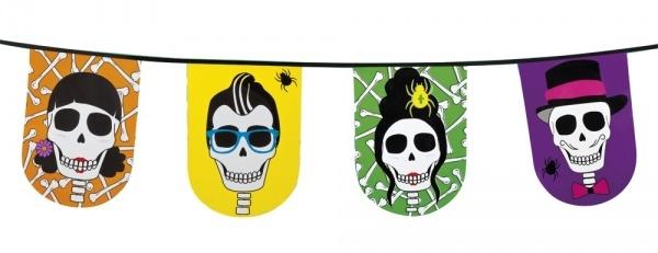 Flaggenkette Sugar Skull Mexikoparty - Dia de los Muertos Deko