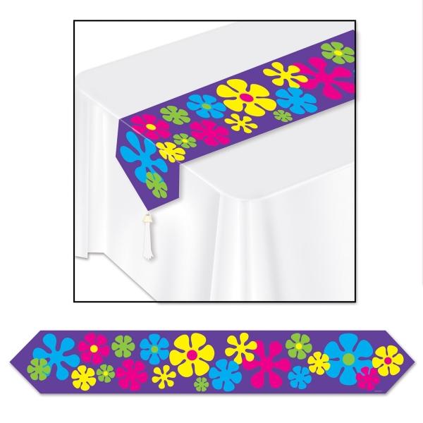 Papp-Tischläufer Flower Power - Hippie Deko