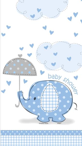 Party-Extra Plastik-Tischdecke Babyfant, hellblau - Babyparty Deko