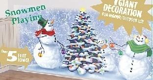 Dekofolie Spielende Schneemänner, 80 cm x 160 cm groß