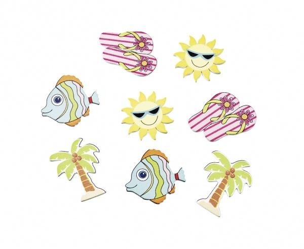 Holzkonfetti Beachparty, 12er Pack je 2-3 cm groß