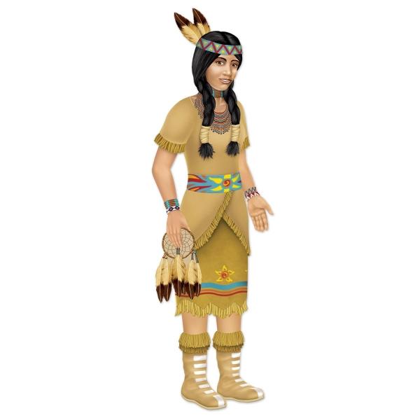 Cutout-Figur Indianer Squaw - Indianerparty Deko