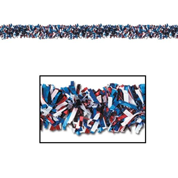 Metallic-Fransengirlande rot-weiß-blau