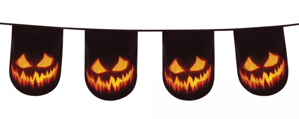 Flaggenkette Spooky Pumpkin - Halloween Kuerbis Deko