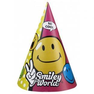 Partyhütchen Smiley, 6er Pack