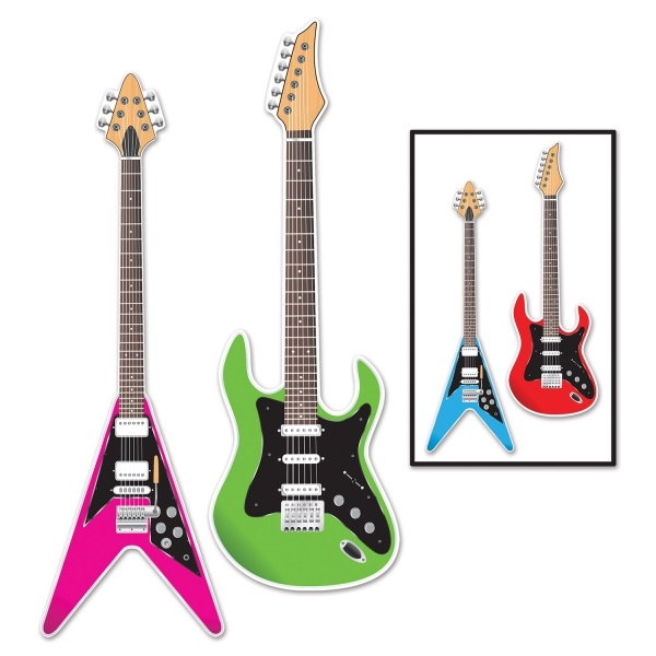 Party-Extra Cutout Set E-Gitarra, 2-teilig - Rockstar Deko