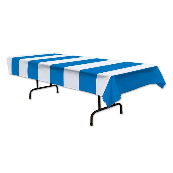 Plastik-Tischdecke blau-weiß gestreift - Bayernparty Deko