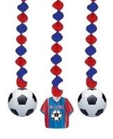 Spiralhänger Fußball, 3er Pack je 75cm lang