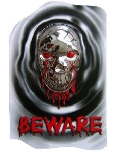 Relief-Aufkleber Beware - Halloweenparty Deko