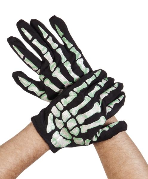 Handschuhe mit Skelett-Aufdruck - Gruselparty Accessoires