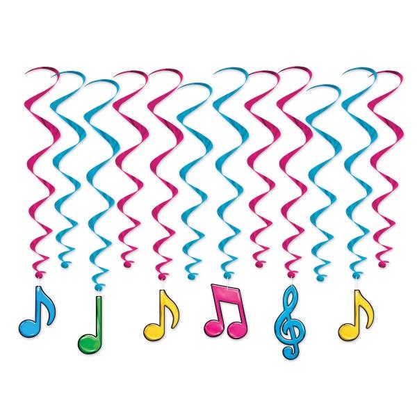 Deko-Spiralhaenger Neon-Musiknoten - Musik Deko