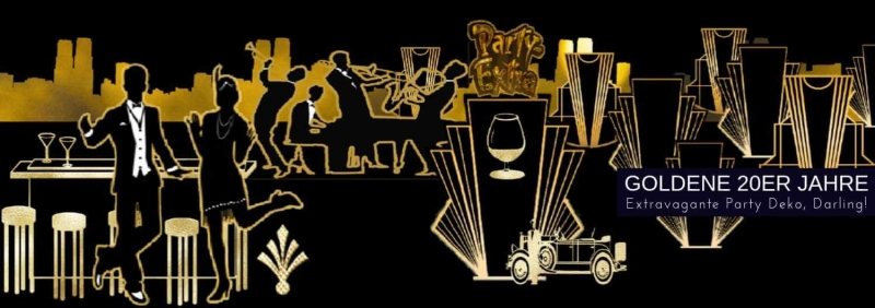 Party-Extra Goldene 20er Jahre Deko Art Deco Partydeko D